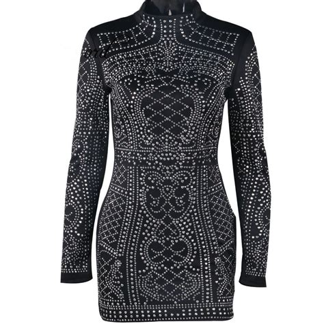 Tight Geometric Studded Party Dress High Neck Long Sleeves