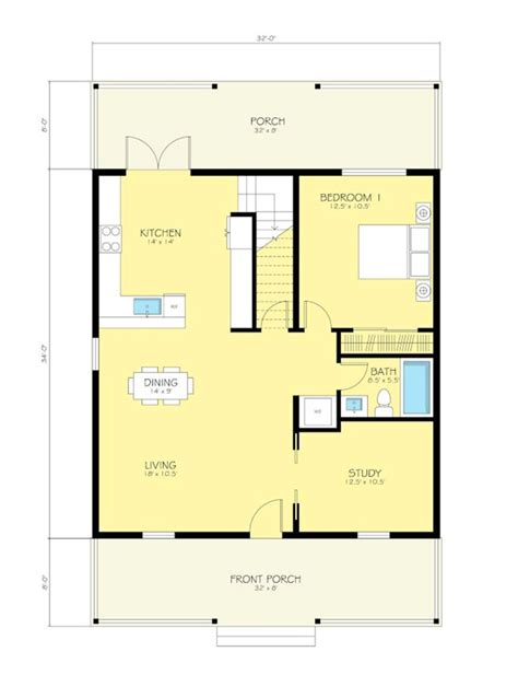 simple but works cottage style house plan 2 beds 2