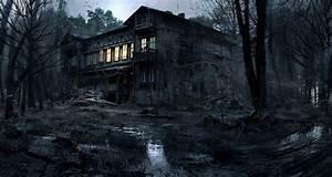 Creepy, House, Lights, Nature, Trees, Forest, Night, Dark, Mud, Photography, Photoshop, Hd