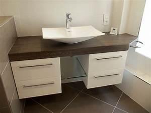 Plan De Travail Salle De Bain : salle de bain plan de travail bois pais sur mesure ~ Premium-room.com Idées de Décoration