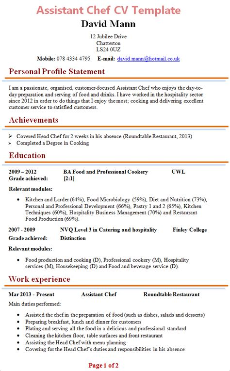 Cv Format For Cook by Exle Cv Chef Uk Assistant Pastry Chef Cv Sle