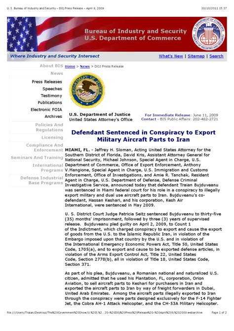 bureau of industry and security bis u s bureau of industry and security doj press release
