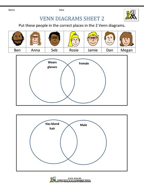 worksheets on venn diagrams for 2nd grade venn diagram worksheets