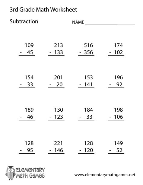 3rd grade math worksheet subtraction with borrowing third grade subtraction worksheet printable 3rd grade