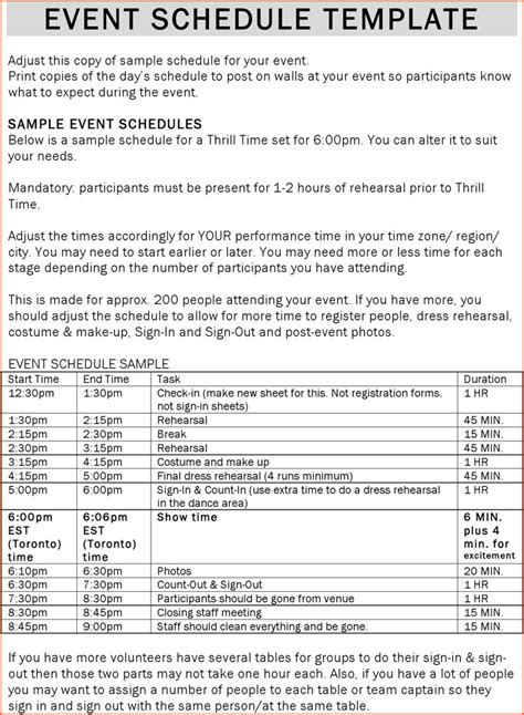 6+ Event Schedule Template