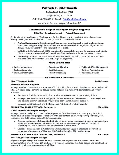 Construction Resumes by Construction Manager Resume To Get Approved