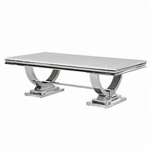 cream marble and chrome u shaped coffee table shropshire With u shaped coffee table