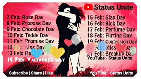 Week Days List Valentine'