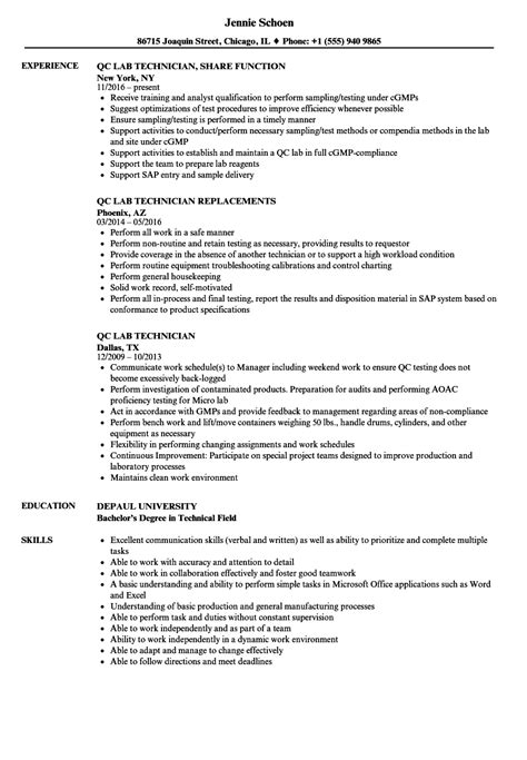 Cath Lab Tech Resume by Qc Lab Technician Resume Sles Velvet