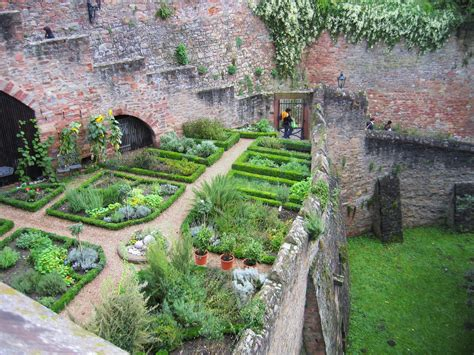 Historic Garden Along A Massive Brick Fortress