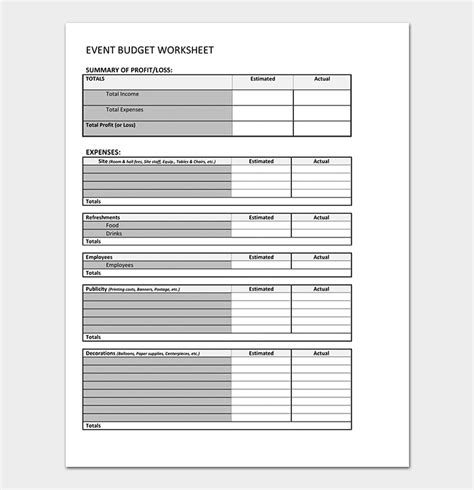 event budget template  planners  word excel