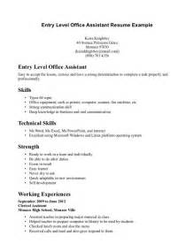 resume entry level no experience assistant resume exles no experience template design
