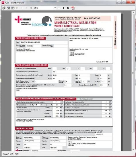 Minor Electrical Installation Works Certificate Template by Electrical Certification Software Niceic Certification