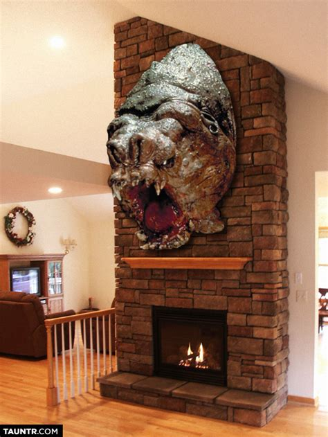 taxidermied heads  star wars creatures mounted  fireplaces