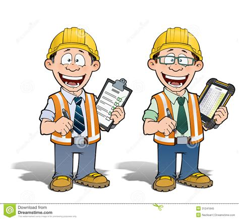 cartoon construction worker manager project clipart workers clip illustration drawing superintendent supervisor reading royalty engineer checking glasses illustrations graphic civil