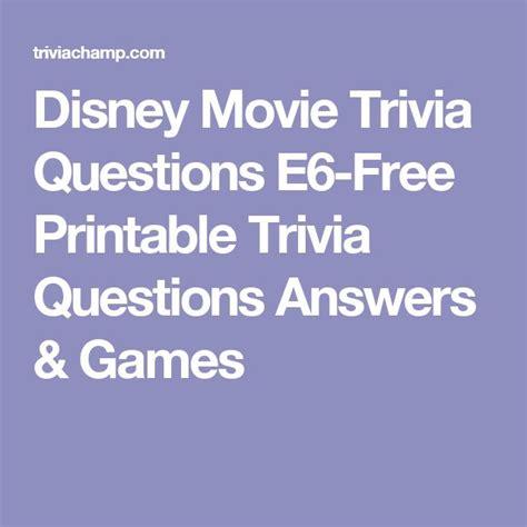disney  trivia questions   printable trivia