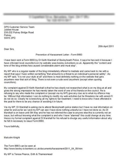 sample letter  complaint harassment contoh