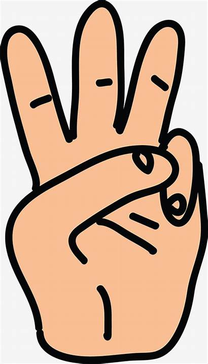 Finger Clipart Three Number Fingers Hand Cartoon