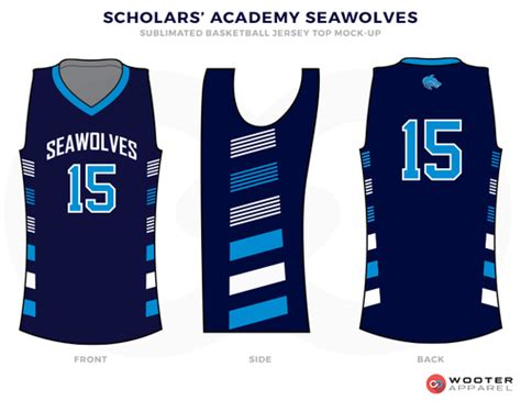 scholars academy seawolver black white  blue basketball