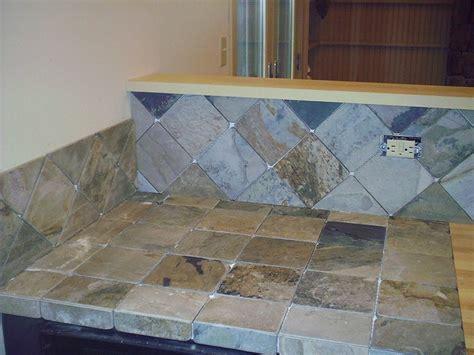 slate countertop and backsplash ungrouted   Tile Stuff