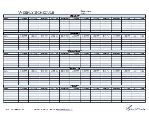 weekly schedule template printable form   format