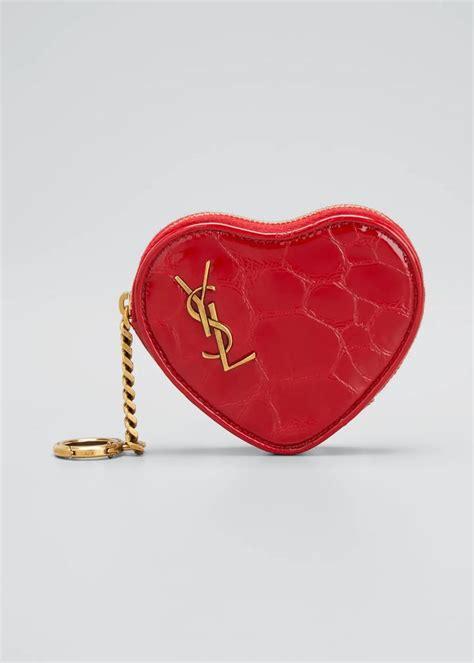 saint laurent heart shaped ysl zip pouch wristlet   saint laurent heart shapes