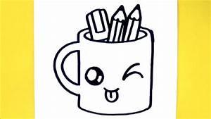 Dessin Facile Yeux : comment dessiner tasse crayons kawaii dessin kawaii et facile youtube ~ Melissatoandfro.com Idées de Décoration