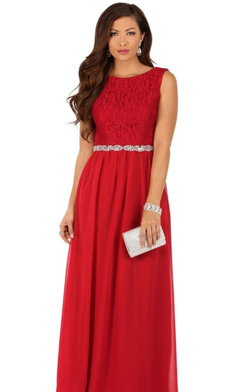 Simple Red Evening Gown - Windsor | Red prom dress ...