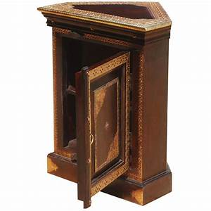 Heritage, Handcrafted, Brass, Inlay, Solid, Wood, Corner, End, Table