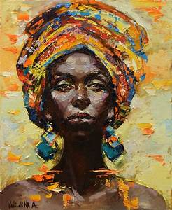African woman portrait painting, Original oil painting ...