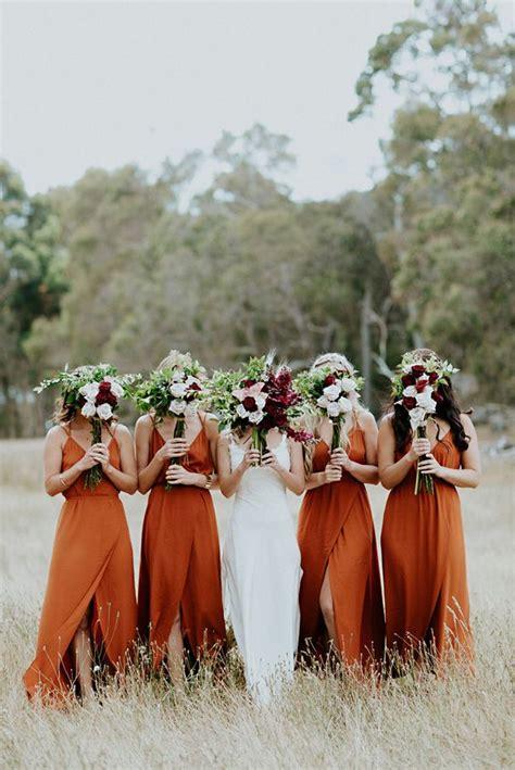 rust wedding orange bridesmaid dresses burnt party bridesmaids bridal