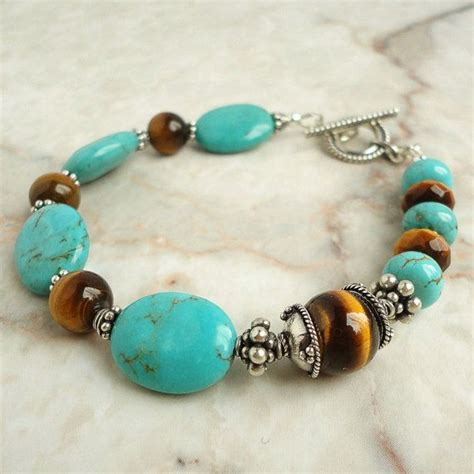 Turquoise Tiger Eye Bracelet With Bali Sterling Silver