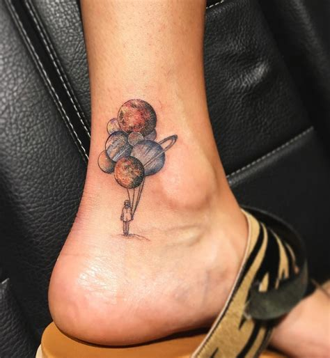 Planet Balloons on Girls Ankle | Best tattoo design ideas