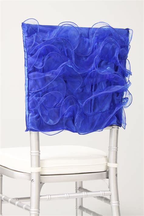 free shipping royal blue organza chair cover for weddings