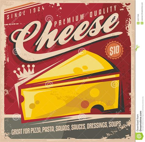 affiche cuisine vintage cheese retro poster design stock vector illustration of