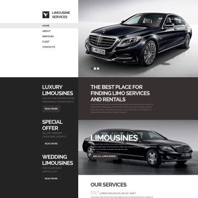 Limo Website by Limousine Services Website Templates Templatemonster