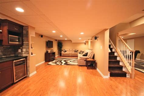 open concept traditional basement