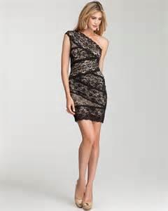 Black Lace One Shoulder Short Dress