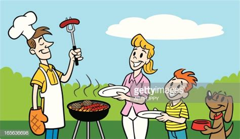 Hungry Family Waiting For Father To Barbeque Vector Art