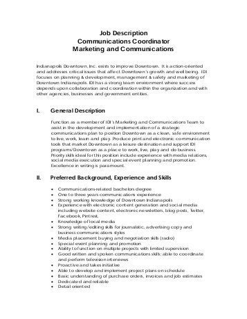 Communication Coordinator by Education Services Coordinator Description
