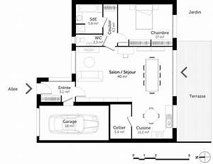 plan maison de plain pied avec 1 chambre ooreka With plan maison en l 100m2 17 bessines maison contemporaine