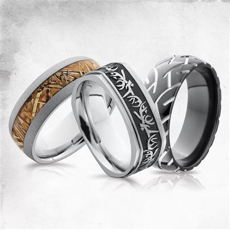 hunting camo and tire tracks men s wedding bands men s