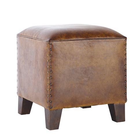 chambre bebe garcon vintage pouf en cuir de chèvre marron fantasia maisons du monde