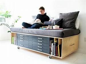 Lit Une Place Avec Rangement : comment bien choisir un meuble gain de place en 50 photos ~ Teatrodelosmanantiales.com Idées de Décoration