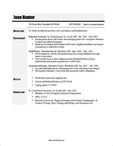 Most Common Resume Templates by Chronological Resume Sle