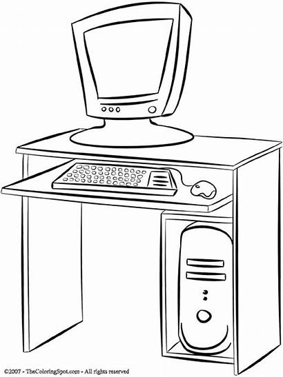 Computer Desk Coloring Pages Colouring Printables