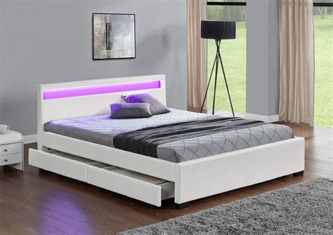 lit avec rangement lit led design 140x190 simili cuir blanc avec tiroirs de rangement enfield