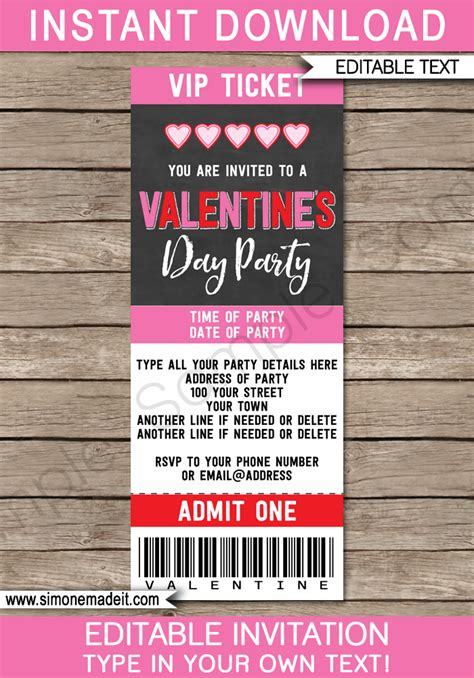 valentines day ticket invitations template chalkboard