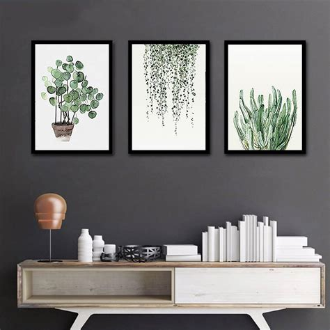 Living Room Shop Zurich by Green Plant Posters Watercolor Canvas Leaves Painting