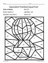 Fractions Coloring Equivalent Worksheets Math sketch template